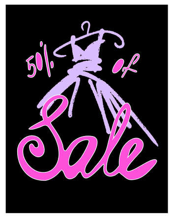 Fashion design vector illustration hand drawn. Woman dress isolated on black background. Dress with Sale on hanger. Lettering.