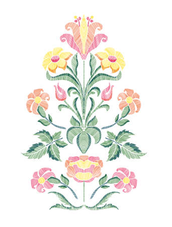 Floral pattern with fantasy flowers and leaves isolated. Vector illustration in retro style hand drawn. Embroidery design elements.  Illustration