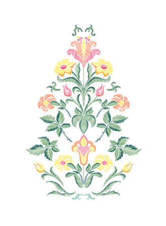 Floral pattern with fantasy flowers and leaves isolated. Vector illustration in retro style hand drawn. Embroidery design elements.