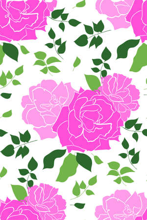 Vector seamless pattern with garden roses flowers on white background hand drawn. Floral design illustration for cosmetics, greeting card , wedding invitation, fabric or wrapping paper.