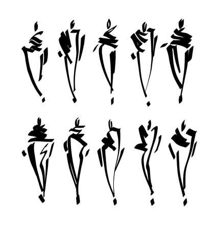 Fashion models sketch hand drawn , stylized silhouettes isolated. Vector fashion illustration set. Illustration