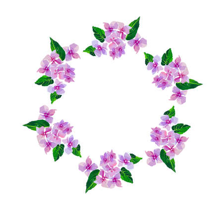 Lilac small flowers.Wreath of watercolor flowers hand painted. Round frame for invitation ,wedding, birthday card, vector illustration isolated on white. Stock Illustratie
