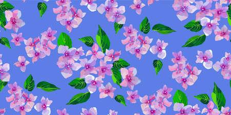 ライラック野生の花シームレスなパターン。小さな花と葉の手描き。テキスタイル、ラッピング、スクラップブッキング用のベクトルイラスト。 写真素材 - 96879327