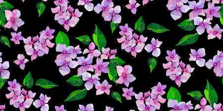 Lilac wild flowers seamless pattern. Small flowers and leaves hand drawn. Vector illustration for textile, wrapping, scrapbooking.