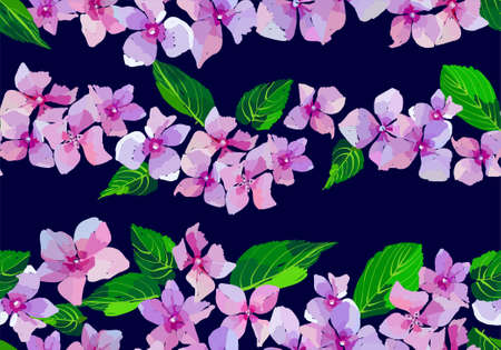 Lilac wild flowers seamless pattern. Small flowers and leaves hand drawn. Vector illustration.