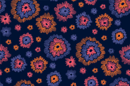 Beautiful flowers seamless pattern in retro style hand drawn. Spring summer season.Vector illustration. Embroidery design. Line art.