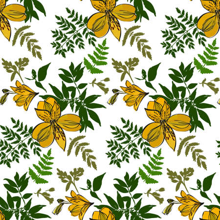 Floral seamless pattern with different flowers and tropical leaves. Botanical illustration hand painted. Textile print, fabric swatch, wrapping paper. Illustration