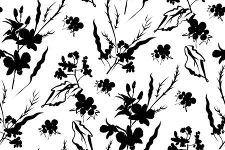 Floral seamless pattern with different flowers and leaves. Botanical illustration  hand painted. Textile print, fabric swatch, wrapping paper. Illustration