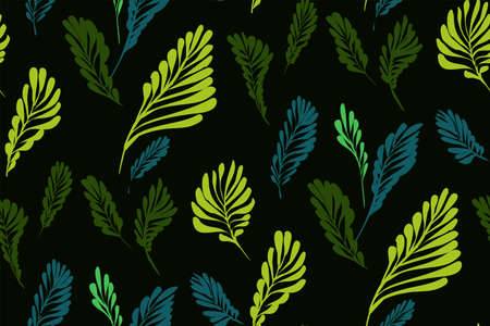 Floral seamless pattern with different tropical leaves. Botanical illustration  hand painted. Textile print, fabric swatch, wrapping paper.