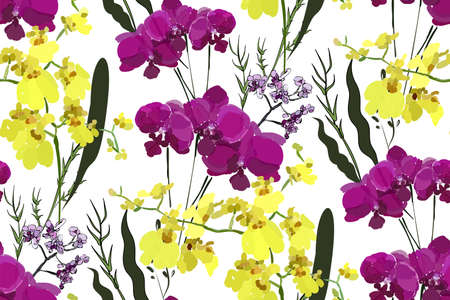 Floral seamless pattern with different flowers and leaves. Botanical illustration  hand painted. Textile print, fabric swatch, wrapping paper. Illusztráció