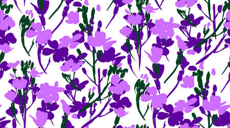 Floral seamless background pattern with wild flowers and leaves. Botanical illustration  hand drawn.Textile print, fabric swatch, wrapping paper.