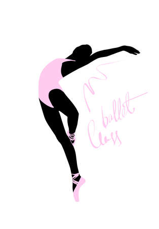 Silhouette of a dancing girl. Ballet Dancer girl isolated. Vector illustration hand drawn. Иллюстрация