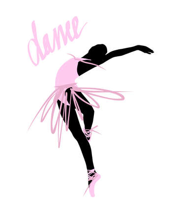 Silhouette of a dancing girl. Ballet Dancer girl isolated. Vector illustration hand drawn.