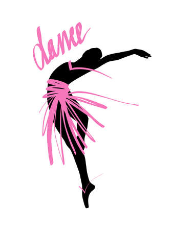 Silhouette of a dancing girl. Ballet Dancer girl isolated. Vector illustration hand drawn. Vectores