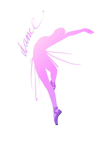 Silhouette of a dancing girl. Ballet Dancer girl isolated. Vector illustration hand drawn. Stock Illustratie