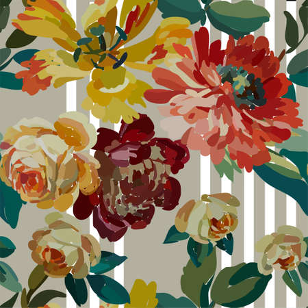 Vintage floral seamless background pattern. Blooming garden flowers. Vector illustration in hand drawn style. Stock Illustratie