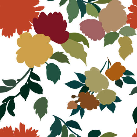 Silhouettes of different flowers and leaves hand drawn.Vector floral seamless background pattern for wallpaper, textile prints, fabric.