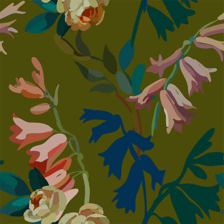 Vintage floral seamless background pattern. Blooming garden bell flowers. Vector illustration in hand drawn style.