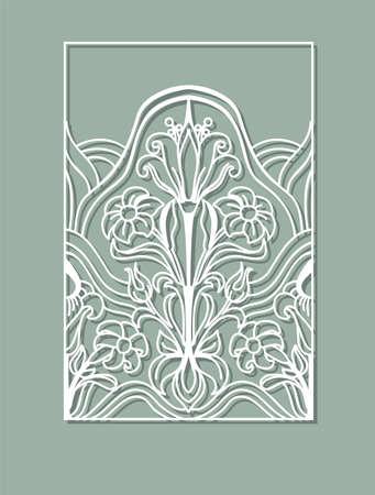 Conception de panneaux découpés au laser. Décoration murale design floral. Modèle vectoriel pour la coupe. Carte d'invitation.