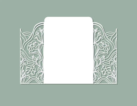 Laser cut panel design. Floral design wall decor. Vector template for cutting. Invitation card.