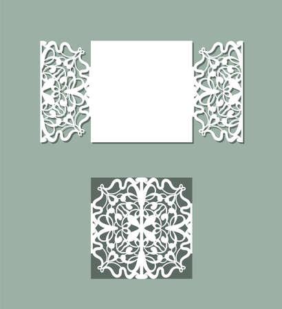 Design del pannello tagliato al laser. Decorazione da parete con disegno floreale. Modello di vettore per il taglio. Biglietto d'invito.