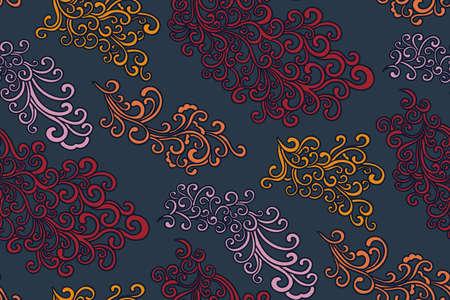 Patrón de Doodle. Dibujado a mano ilustración vectorial. Dibujo de líneas finas. Patrón de fondo transparente de remolinos, estilo oriental. Vector