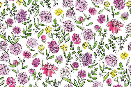 Floral seamless background pattern. Colorful spring flowers hand drawn, vector. Spring summer. Fabric swatch, textile design,wrapping, paper Ilustración de vector