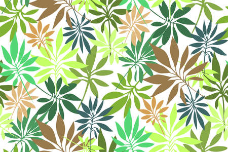 Tropical leaves seamless background pattern. Vector floral design. Textile, fabric, wallpaper