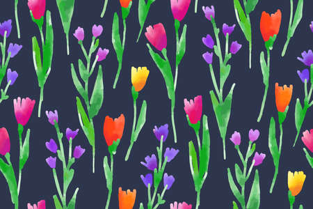 Floral seamless pattern with different flowers and leaves. Botanical illustration hand painted. Textile print, fabric swatch, wrapping paper. 矢量图像