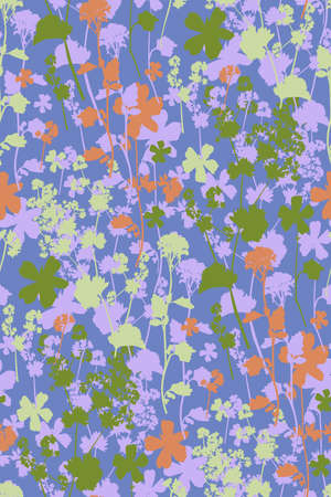 Floral seamless background pattern. Wild flowers hand drawn, vector. Spring summer. Fabric swatch, textile design, wrapping paper