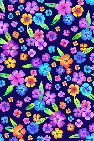 Floral seamless background pattern. Colorful flowers hand drawn, vector. Spring summer. Fabric swatch, textile design, wrapping paper 矢量图像