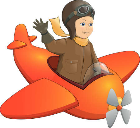 Color vector cartoon joyful boy pilot flying toy plane flight helmet Ilustrace