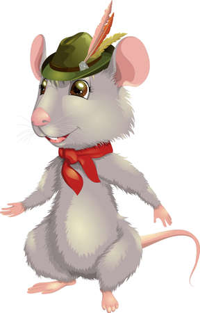 Vector illustration funny cheerful smiling rat with a hat symbol 2020 Çizim