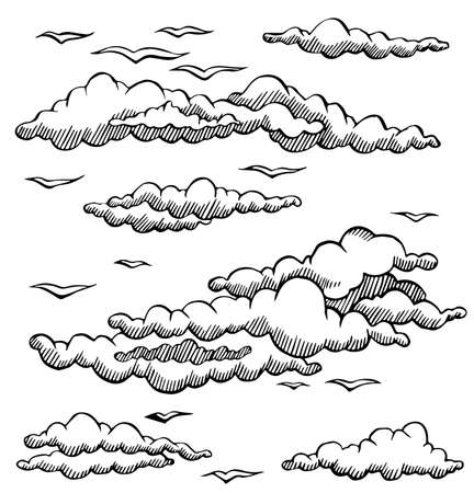 black and white line drawing: vector set clouds and seagulls line drawing