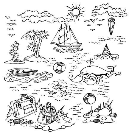 old suitcase: Vector elements of travel of the drawn line: the old ship, fishing boat, palm trees, fish, whale, stones, beach, old suitcase, backpack, ball, balloon