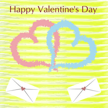 Valentine's Day greeting card with handwritten lettering and decorative textured brush strokes on background.Two hearts together.
