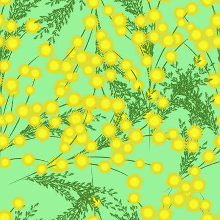 Seamless pattern with yellow and green leaves on a blue background. Mimosa flowers. Vector illustration. Category Plants and Flowers