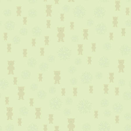 Pattern of objects on a green background