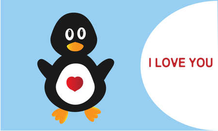 Black the penguin in love on white background