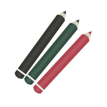 Set of three pencils of different colors on a white background