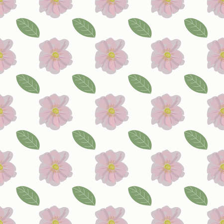 Rosehip flower and green leaf pattern for textile or packaging design