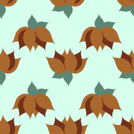Pattern of hazelnuts with green leaves on a white background