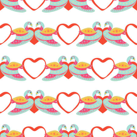 Seamless pattern of colorful swans in a heart on a white background Stock Illustratie