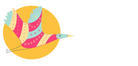 Flying colorful crane with a green twig on top of a circle Stock Illustratie