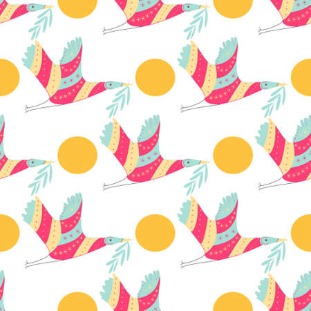 Colorful crane and circle pattern on white background