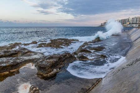breakwater: Waves on the breakwater Stock Photo