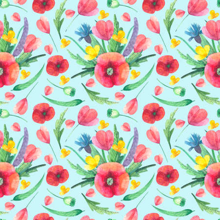 Floral pattern with watercolor wild flowers and floral composition for textile, wallpaper, wrapping paper and etc Banco de Imagens