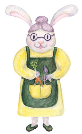 Watercolor hand painted rabbit gardener. For books, wrapping, textile and etc