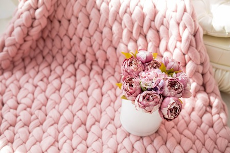 Spring decor with flowers in photo studio