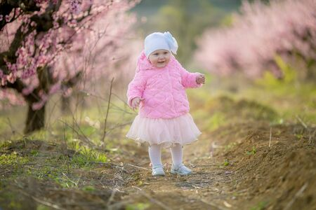 A child in nature in early spring in flowering rose trees. Stok Fotoğraf